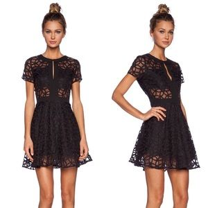 Lucca Couture Black Sheer Panel Dress